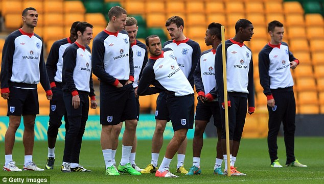 No go: Townsend (centre) has withdrawn from the England Under 21 squad for the European Championship