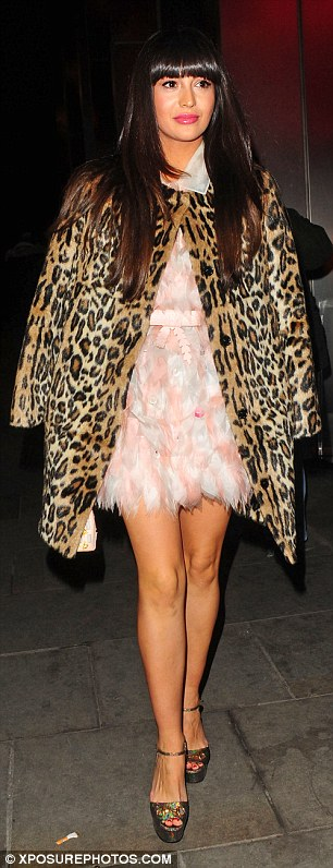 Gorgeous: Zara Martin looked effortlessly sexy when she turned up in a thigh-skimming feather dress