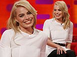 Margot Robbie during filming of the Graham Norton Show at the London Studios, in central London. PRESS ASSOCIATION Photo. Picture date: Wednesday February 11, 2015. The programme is due to be aired on Friday February 27. Photo credit should read: Jonathan Brady/PA Wire
