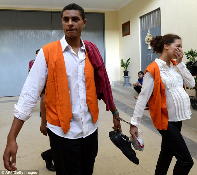 Tommy Schaefer, 21, (pictured left today) and Heather Mack, 19, (right) are charged with premeditated murder in the death of Sheila von Wiese-Mack, whose badly beaten body was found in a suitcase at a luxury Bali hotel last August