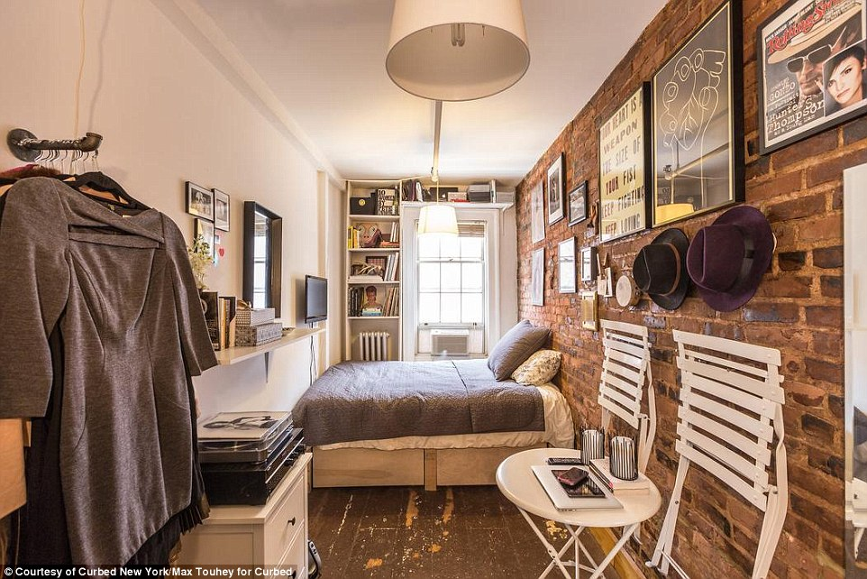 A new kind of micro-apartment: New York fashion industry worker Mary Helen Rowell calls this 90-square-foot apartment in the West Village home