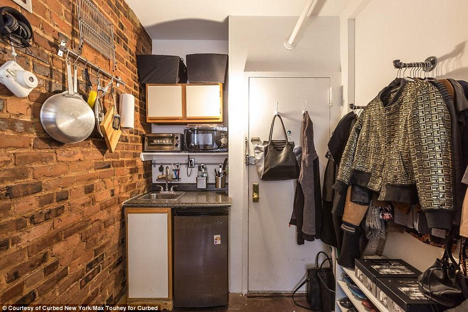 Steal: The small space costs just $750 a month - which is extremely low compared to the $3,200 median rent for the neighborhood
