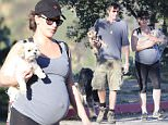 UK CLIENTS MUST CREDIT: AKM-GSI ONLY\nEXCLUSIVE: Milla Jovovich gets a jump start on her post-baby body as she goes for a hike with her husband Paul W.S. Anderson this afternoon in Beverly Hills. The pregnant actress' bulging baby bump was on full display beneath a tank top paired with black leggings and cap. The expectant couple, who were joined by their dogs, worked up a sweat as temperatures climbed into the 80's.\n\nPictured: Milla Jovovich and Paul W.S. Anderson\nRef: SPL962027  250215   EXCLUSIVE\nPicture by: AKM-GSI / Splash News\n\n