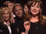 """NEW YORK, NEW YORKñ Saturday,  February 28, 2015.    Saturday Night Live\nDakota Johnson hosts. Alabama Shakes performs as musical guest. Don Johnson and Melanie Griffith make cameos. \nCast: Vanessa Bayer, Aidy Bryant, Michael Che, Pete Davidson, Taran Killam, Kate McKinnon, Bobby Moynihan, Jay Pharoah, Kenan Thompson, and Cecily Strong; featuring Beck Bennett, Colin Jost, Kyle Mooney, and Sasheer Zamata.\nPhotograph:© NBC, """"Disclaimer: CM does not claim any Copyright or License in the attached material. Any downloading fees charged by CM are for its services only, and do not, nor are they intended to convey to the user any Copyright or License in the material. By publishing this material, The Daily Mail expressly agrees to indemnify and to hold CM harmless from any claims, demands or causes of action arising out of or connected in any way with user's publication of the material.""""\n"""