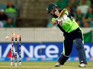 3 March 2015: Ireland's George Dockrell is bowled for 25 runs by South Africa's Morne Morkel to end their Cricket World Cup match at Manuka Oval in Canberra