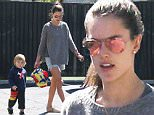 Victoria's Secret model Alessandra Ambrosio shows off her long legs while picking up son Noah from school. March 3, 2015 X17online.com