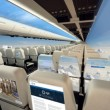 Top shot of two rows of pagganger seats. Aircraft interior in business class.