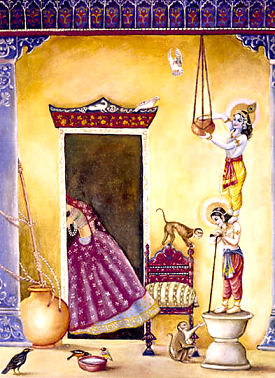 krishna standing on the grinding stone to steal butter: