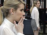 134125, EXCLUSIVE: Emma Roberts takes a smoke break between filming scenes on the set of the first day of Filming 'Scream Queens' in New Orleans. New Orleans, Louisiana - Friday March 13, 2015. Photograph: © PacificCoastNews. Los Angeles Office: +1 310.822.0419 sales@pacificcoastnews.com FEE MUST BE AGREED PRIOR TO USAGE