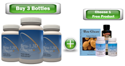 3 Pack of Beta-1, 3D Glucan 500mg + 1 Free Product