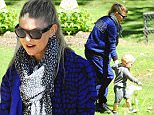 Picture Shows: Fergie, Fergie Duhamel, Stacy Ferguson, Axl Duhamel  March 13, 2015\n \n Pop star Fergie is seen leaving a park in Brentwood, California with her growing boy Axl. Fergie dressed casually in a blue print Adidas jacket and matching trackpants.\n \n Non-Exclusive\n UK RIGHTS ONLY\n \n Pictures by : FameFlynet UK © 2015\n Tel : +44 (0)20 3551 5049\n Email : info@fameflynet.uk.com