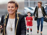 15.MARCH.2015 - MANCHESTER  - UK *** EXCLUSIVE PICTURES *** COLEEN ROONEY ARRIVES AT OLD TRAFFORD MANCHESTER ON MOTHERS DAY WITH HER MOTHER COLETTE MCLOUGHLIN AND SONS KAI WAYNE ROONEY AND KLAY ANTHONY ROONEY. COLEEN WAS SPORTING A BLING GOLD NECKLACE WITH JEANS BYLINE MUST READ : XPOSUREPHOTOS.COM ***UK CLIENTS - PICTURES CONTAINING CHILDREN PLEASE PIXELATE FACE PRIOR TO PUBLICATION *** **UK CLIENTS MUST CALL PRIOR TO TV OR ONLINE USAGE PLEASE TELEPHONE  442083442007