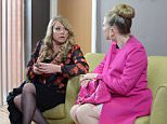 WARNING: Embargoed for publication until 17/03/2015 - Programme Name: EastEnders - TX: 24/03/2015 - Episode: 5038 (No. n/a) - Picture Shows: ***FORTNIGHTLIES (SOAP LIFE and ALL ABOUT SOAP) PLEASE DO NOT USE.. Sharon tells Linda she can't go through with seeing her solicitor.  Sharon Mitchell (LETITIA DEAN), Linda Carter (KELLIE BRIGHT) - (C) BBC - Photographer: Kieron McCarron