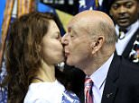 Dickie V gives @AshleyJudd a good luck smooch prior to @KentuckyMBB 's game with the Hogs. #SECMBB #AllKentucky #bbn