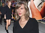 """Los Angeles, CA - Pop princess Taylor Swift had a night out in Downtown L.A. on Saturday with her younger brother Austin and his mystery girl. The trio head out of a graffiti-laden bar at around 1:30am, Taylor still sporting a massive bandage on her thigh from where her cat Meredith badly scratched her. The """"Shake it Off"""" songstress seemed to keep a careful eye on her little bro, looking adorable as always in a black mini dress, crystal headband and booties.\nAKM-GSI     March 14, 2015 \nTo License These Photos, Please Contact :\nSteve Ginsburg\n(310) 505-8447\n(323) 423-9397\nsteve@akmgsi.com\nsales@akmgsi.com\nor\nMaria Buda\n(917) 242-1505\nmbuda@akmgsi.com\nginsburgspalyinc@gmail.com"""
