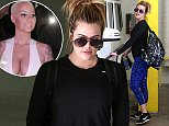 UK CLIENTS MUST CREDIT: AKM-GSI ONLY EXCLUSIVE: Khloe Kardashian looking electric blue with her leggings today as she hits the gym for her regular workout in Beverly Hills, CA. The extra fit reality star worked out with a friend today and gave her a big smooch while saying their goodbyes.  Pictured: Khloe Kardashian Ref: SPL977456  160315   EXCLUSIVE Picture by: AKM-GSI / Splash News