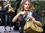 UK CLIENTS MUST CREDIT: AKM-GSI ONLY EXCLUSIVE: Buxom beauty Sofia Vergara arrived at the Peninsula hotel in Beverly Hills, CA on Wednesday afternoon, juggling her bag and a bit of trash as she dropped her car off at the valet. The newly engaged actress looked sexy in a midriff-baring black blouse paired with ripped skinny jeans and sky-high platform heels.  Pictured: Sofia Vergara Ref: SPL979400  180315   EXCLUSIVE Picture by: AKM-GSI / Splash News