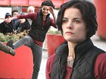 Jaimie Alexander, Sullivan Stapleton, Rob Brown and Aubrey Esparza seen braving the cold as they filmed a scene for their CW network tv series Pilot 'Blindspot' around the Battery Park area in Downtown, Manhattan.\n\nPictured: Jaimie Alexander\nRef: SPL978179  180315  \nPicture by: Jose Perez / Splash News\n\nSplash News and Pictures\nLos Angeles: 310-821-2666\nNew York: 212-619-2666\nLondon: 870-934-2666\nphotodesk@splashnews.com\n