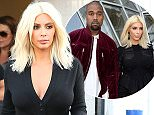 Kim Kardashian  in skin tight black leaving wearing pants so tight you can see that she's wearing a g string and shoing skin in pants that are not even supposed to be see through.   March 16, 2015 X17online.com