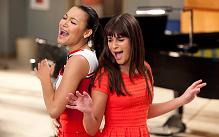 Santana (Naya Rivera) and Rachel (Lea Michele) sing it proud in Glee