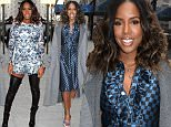 Singer Kelly Rowland visits 'Good Day New York' in a blue and black dress.\n\nPictured: Kelly Rowland\nRef: SPL980082  200315  \nPicture by: Fortunata / Splash News\n\nSplash News and Pictures\nLos Angeles: 310-821-2666\nNew York: 212-619-2666\nLondon: 870-934-2666\nphotodesk@splashnews.com\n