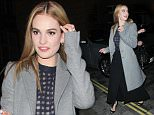 Lily James seen arriving at the Cinderella after party, London, UK  Pictured: Lily James Ref: SPL980051  190315   Picture by: Splash News  Splash News and Pictures Los Angeles: 310-821-2666 New York: 212-619-2666 London: 870-934-2666 photodesk@splashnews.com