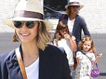 Jessica Alba was showing off her business casual style while on an outing with her darling daughters, Honor and Haven.  The iconic momm went wore a navy jacket over jeans, with a hat and shades, on Friday,  March 20, 2015 X17online.com