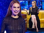 *****EMBARGO*****NOT FOR PUBLICATION BEFORE 00.01hrs SATURDAY 21ST march.2015.***** EDITORIAL USE ONLY / NO MERCHANDISING  Mandatory Credit: Photo by Brian J Ritchie/Hotsauce/REX (4564700bj)  Lily James  'The Jonathan Ross Show' TV Programme, London, Britain. - 21 Mar 2015