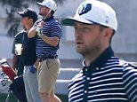 Picture Shows: Justin Timberlake  March 20, 2015\n \n Singer and dad to be Justin Timberlake enjoys a day of golfing with friends in Toluca Lake, Los Angles, California. Justin is enjoying some down time before his wife gives birth and his life becomes less golf and more diaper changing!\n \n Non-Exclusive\n UK RIGHTS ONLY\n \n Pictures by : FameFlynet UK � 2015\n Tel : +44 (0)20 3551 5049\n Email : info@fameflynet.uk.com