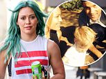 LOS ANGELES, CA - MARCH 20: Hilary Duff is seen with a new aqua green hairdo on March 20, 2015 in Los Angeles, California.  (Photo by Bauer-Griffin/GC Images)