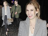 21 Mar 2015 - LONDON - UK *** EXCLUSIVE PICTURES STRICTLY AVAILABLE FOR ONLINE USAGE ONLY! *** *** STRICTLY NOT AVAILABLE FOR MAIL ONLINE AND ANY ONLINE SUBSCRIPTION DEALS UNLESS FEE AGREED PRIOR TO USAGE*** JONATHAN ROSS ALONG WITH MATT SMITH AND LILY JAMES ARE SEEN LEAVING THE BOX NIGHTCLUB IN SOHO AT 2.30am.  RICHARD MADDEN AND JENNA LOUISE COLEMAN HAD LEFT THE CLUB A FEW MINUTES BEFOREHAND AFTER PARTYING WITH THE GROUP. WHILE JENNA AND RICHARD APPEARED A LITTLE CAMERA-SHY, LILY, MATT AND JONATHAN WERE IN A VERY PLAYFUL MOOD. THEY WERE EVEN ACCOSTED BY A FEW SOHO 'CHARACTERS' WHO MADE THEM LAUGH BYLINE MUST READ : XPOSUREPHOTOS.COM ***UK CLIENTS - PICTURES CONTAINING CHILDREN PLEASE PIXELATE FACE PRIOR TO PUBLICATION *** **UK CLIENTS MUST CALL PRIOR TO TV OR ONLINE USAGE PLEASE TELEPHONE 44 208 344 2007**