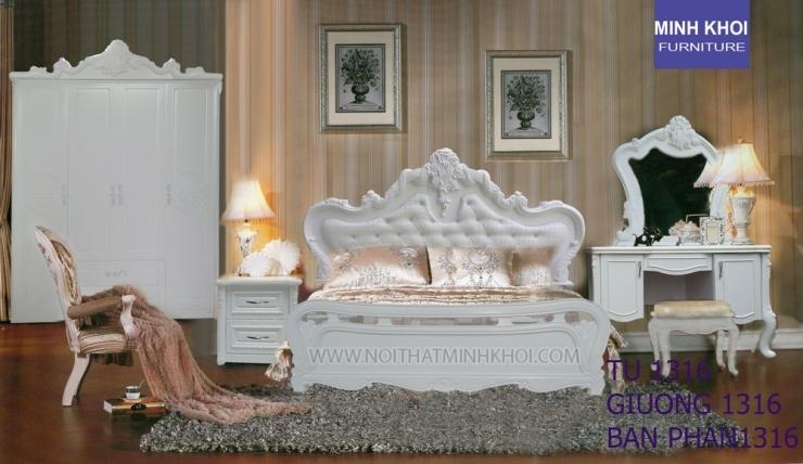 giường ngủ cổ điển màu trắng đẹp giá rẻ