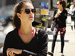 Brentwood, CA - Victoria Secret model, Alessandra Ambrosio, keeps her fabulous body in shape by drinking green juice.  She was seen drinking and reading up on the healthy juice after she left a strenuous yoga class. AKM-GSI     March 23, 2015 To License These Photos, Please Contact : Steve Ginsburg (310) 505-8447 (323) 423-9397 steve@akmgsi.com sales@akmgsi.com or Maria Buda (917) 242-1505 mbuda@akmgsi.com ginsburgspalyinc@gmail.com