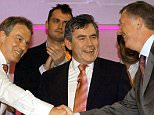 Britain's Prime Minister Tony Blair (left) and Chancellor Gordon Brown greet Manchester United manager Sir Alex Ferguson at a rally in Oldham, Monday April 11, 2005. Chancellor Gordon Brown tonight delivered an enthusiastic endorsement of Tony Blair's premiership - insisting that Britain should return the Prime Minister to  Number 10 on May 5. Despite repeated rumours of rifts and rows between the two men over recent years, Mr Brown argued that Mr Blair remains the right man to lead the country. See PA Story ELECTION Labour Rally. PRESS ASSOCIATION Photo. Photo credit should read: Stefan Rousseau/PA