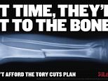 Undated handout image issued by the Labour party of the Labour party's latest campaign poster against government cuts to the NHS. PRESS ASSOCIATION Photo. Picture date: Friday March 20, 2015. See PA story POLITICS Labour. Photo credit should read: Labour/PA Wire   NOTE TO EDITORS: This handout photo may only be used in for editorial reporting purposes for the contemporaneous illustration of events, things or the people in the image or facts mentioned in the caption. Reuse of the picture may require further permission from the copyright holder.