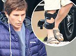 ***MANDATORY BYLINE TO READ INFPhoto.com ONLY***\nChristian Bale wears a knee brace and Birkenstock sandals on the set of the film 'The Big Short' in New Orleans, Louisiana.\n\nPictured: Christian Bale\nRef: SPL982865  230315  \nPicture by: INFphoto.com\n\n