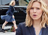 UK CLIENTS MUST CREDIT: AKM-GSI ONLY\nEXCLUSIVE: New mom Kristen Bell snacked on a salad on Monday afternoon while in between takes of her upcoming comedy flick, 'Michelle Darnell.' The petite blonde stayed in costume while she grabbed lunch at the craft services trailer, donning a navy blue blazer and flowing sundress (paired with her own Ugg boots) before heading back to film another scene.\n\nPictured: Kristen Bell\nRef: SPL982794  230315   EXCLUSIVE\nPicture by: AKM-GSI / Splash News\n\n