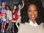 """NEW YORK, NY - MARCH 24:  (EXCLUSIVE COVERAGE) Oprah Winfrey poses with """"The Angels"""" of the ahow backstage at the hit musical """"Kinky Boots"""" on Broadway at The Al Hirshfeld Theater on March 24, 2015 in New York City.  (Photo by Bruce Glikas/FilmMagic)"""