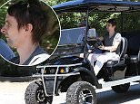 Please contact X17 before any use of these exclusive photos - x17@x17agency.com   Matthew Bellamy was spotted cruising through Malibu on his oversized golf cart with a friend  March 25, 2015 X17online.com