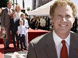 Will Ferrell, back row, from left, back row, Viveca Ferrell and, front row, from left, their sons Magnus, Axel and Mattias pose alongside Ferrell's new star on the Hollywood Walk of Fame following a ceremony honoring him on Tuesday, March 24, 2015, in Los Angeles. (Photo by Chris Pizzello/Invision/AP)