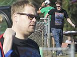 EXCLUSIVE: **PREMIUM RATES APPLY** British funny man James Corden spotted carrying a spiderman backpack as he arrives at a park in Los Angeles the day after his US chat show debut as the new host of The Late Late Show gets raved reviews  Pictured: James Corden Ref: SPL980948  240315   EXCLUSIVE Picture by: Splash News  Splash News and Pictures Los Angeles:310-821-2666 New York:212-619-2666 London:870-934-2666 photodesk@splashnews.com
