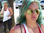Studio City, CA - Hilary Duff feeds her meter as she arrives for an appointment at Belle Visage Medical Spa in Studio City. Hilary rocked her green do with patterned spandex, Nike sneakers and a white tank.\nAKM-GSI       March  26, 2015\nTo License These Photos, Please Contact :\nSteve Ginsburg\n(310) 505-8447\n(323) 423-9397\nsteve@akmgsi.com\nsales@akmgsi.com\nor\nMaria Buda\n(917) 242-1505\nmbuda@akmgsi.com\nginsburgspalyinc@gmail.com