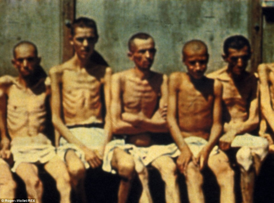 A picture taken by American troops in April 1945 shows emaciated men who were kept at Dachau