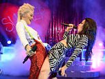 25.MARCH.2015  - LONDON  - UK *** EXCLUSIVE ALL ROUND PICTURES *** CHARLI XCX IS JOINED ON STAGE BY RITA ORA TO PERFORM THEIR RECENT HIT 'DOING IT' AT CHARLI'S HEADLINE GIG AT THE O2 SHEPHERDS BUSH EMPIRE IN LONDON, UK. BYLINE MUST READ: TIMMS/XPOSUREPHOTOS.COM ***UK CLIENTS - PICTURES CONTAINING CHILDREN PLEASE PIXELATE FACE PRIOR TO PUBLICATION *** **UK CLIENTS MUST CALL PRIOR TO TV OR ONLINE USAGE PLEASE TELEPHONE  442083442007