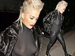 LONDON, UNITED KINGDOM - MARCH 25: (EDITOR'S NOTE: Image contains partial nudity) Rita Ora leaves the Shepherd's Bush Empire on March 25, 2015 in London, England. (Photo by Mark Robert Milan/GC Images)