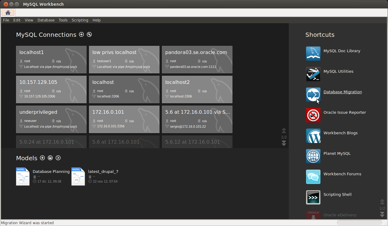 MySQL Workbench Home Screen