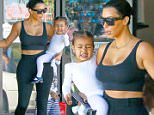 Baby North, , Kim Kardashian is back to black hair as she and Kourtney take their kids to ballet in Woodland Hills. Kim's sporting a pair of Adidas Yeezy Boost sneakers designed by Kanye West\nFeaturing: Kim Kardashian, North West\nWhere: Los Angeles, California, United States\nWhen: 26 Mar 2015\nCredit: WENN.com