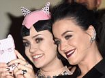"""LOS ANGELES, CA - MARCH 26:  Singer Katy Perry takes a selfie with fans at the screening of EPIX's """"Katy Perry: The Prismatic World Tour"""" at The Theatre at Ace Hotel Downtown LA on March 26, 2015 in Los Angeles, California.  (Photo by Jason Merritt/Getty Images)"""
