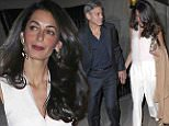 """George Clooney and Amal Clooney holds hands after having dinner at Tina Brown and Sir Harold Evans's Sutton Place residence in New York City. George can be seen holding Evans's book """"American Century.""""\n\nPictured: George Clooney and Amal Clooney\nRef: SPL986290  270315  \nPicture by: Splash News\n\nSplash News and Pictures\nLos Angeles: 310-821-2666\nNew York: 212-619-2666\nLondon: 870-934-2666\nphotodesk@splashnews.com\n"""