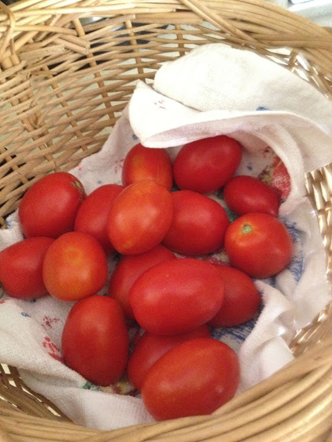 A batch of bright red tomatoes in a basket.